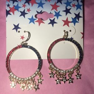 Red, White and Blue Crystal Earrings
